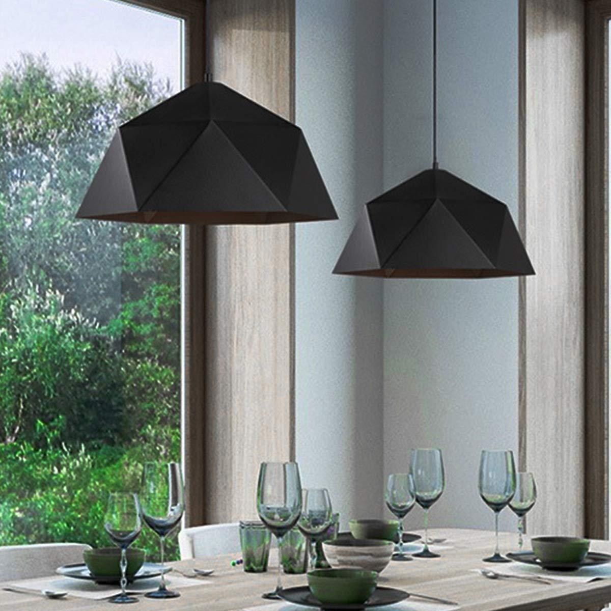 NANGE Wrought Iron Diamond Pendant Lamp, Industrial Wind Ancient Ways Geometry Pot Droplight,Cafe Restaurant Chandelier,E27(Without Light Source) (Color : Black, Size : AC 110V) by NANGE (Image #4)