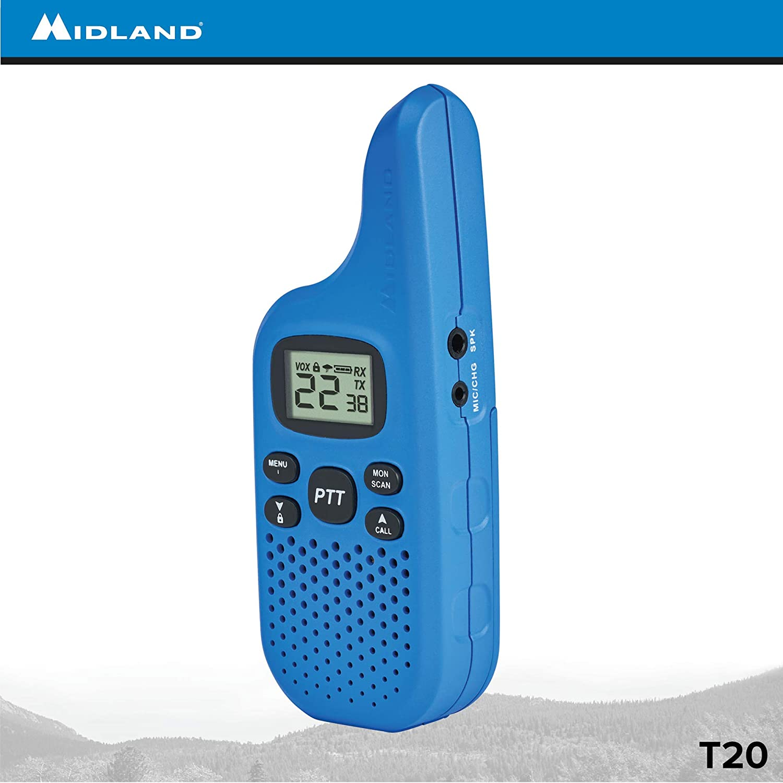 22 Channel FRS Walkie Talkie 38 Privacy Codes Midland Blue Pair Pack Two-Way Radio X-TALKER T20 NOAA Weather Alert