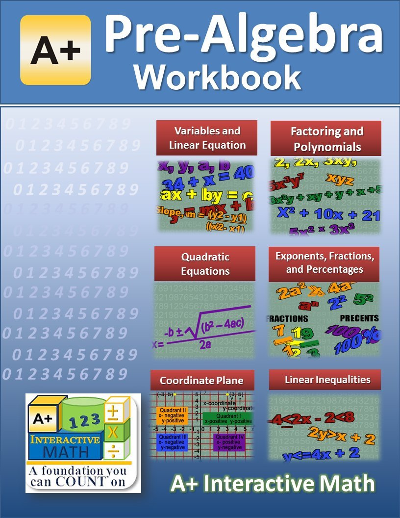 Pre Algebra 7th Or 8th Grade Math Workbook Printed B W Plasti Coil Bound 117 Worksheets 16 Tests And Answer Keys A Interactive Math 0661799025669 Amazon Com Books