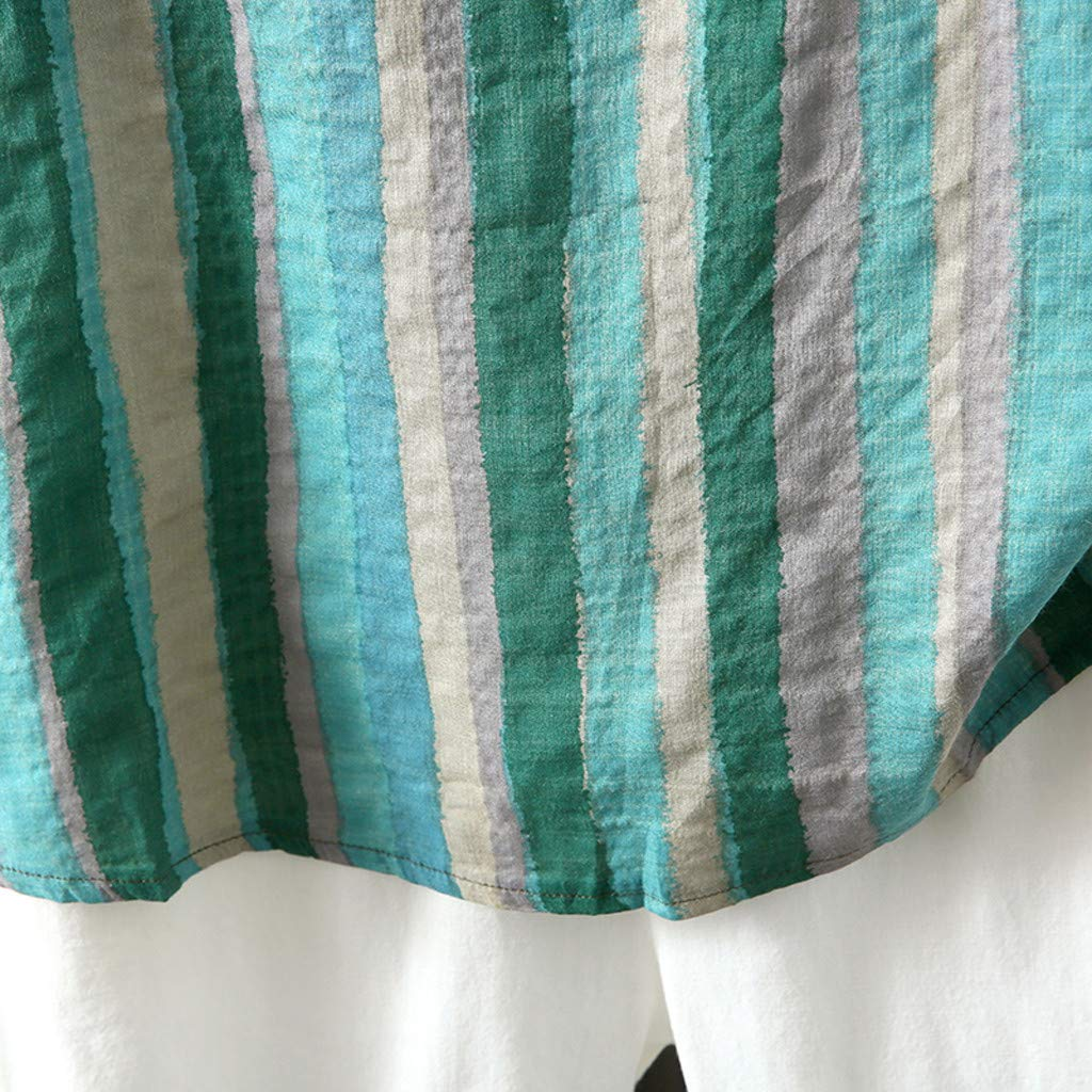 Leinenbluse Damen Sommer Gro/ße Gr/ö/ßen,Frau Vintage Kurzarm Baumwolle Leinen Gestreift Beil/äufige Lose Crop Bluse Shirt Tunika Tops Leinenbluse Damen Kurzarm Leinenhemd