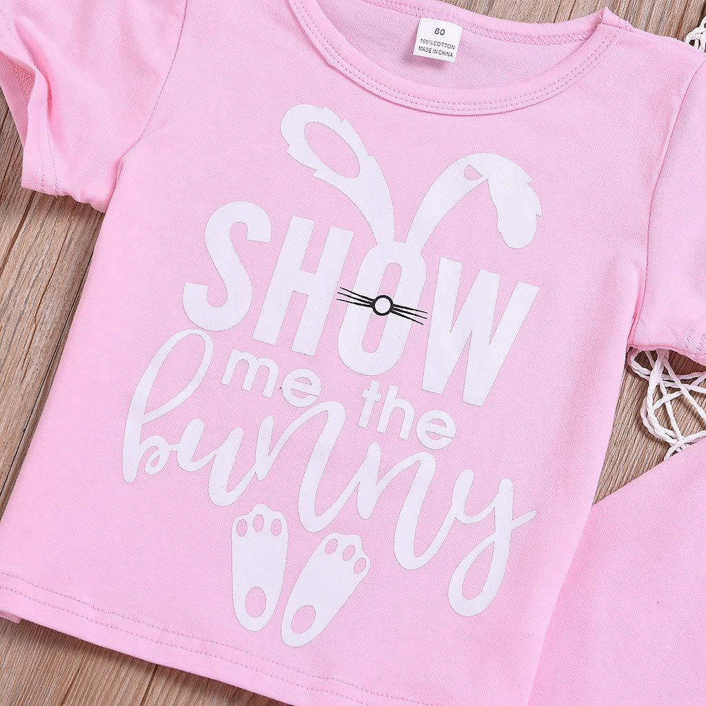 Toddler Girls Easter Rabbit Clothing Sets | Summer Outfits for Little Girls Pink Pajamas Set(Pink,110) by Wesracia (Image #4)