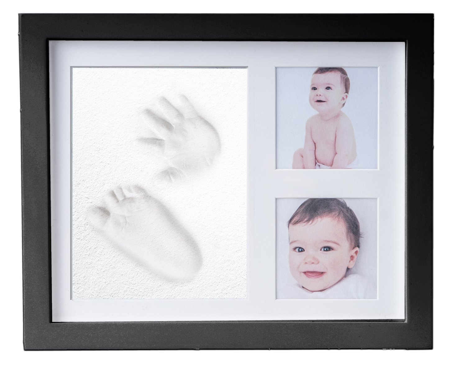 Baby Hand & Foot Print Frame Kit - include free rolling pin – Soft, Safe imprint Clay for moulding with a Premium Wood frame and High Quality Acrylic Glass Cover (ultimate newborn baby gift - Black frame) Chuckle