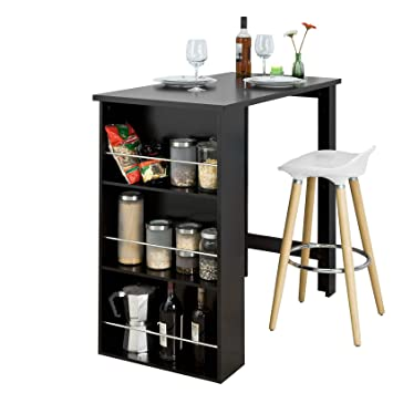 Table De Bar Noir.Sobuy Set De 1 Table De Bar Mange Debout Noir Et 1 Tabouret