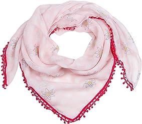 """SIX """"Oktoberfest rosa/weiß kariertes Tuch, Schal mit kleinen Edelweiß Blumen und roter Spitzenborte mit Bommeln (705-311)"""
