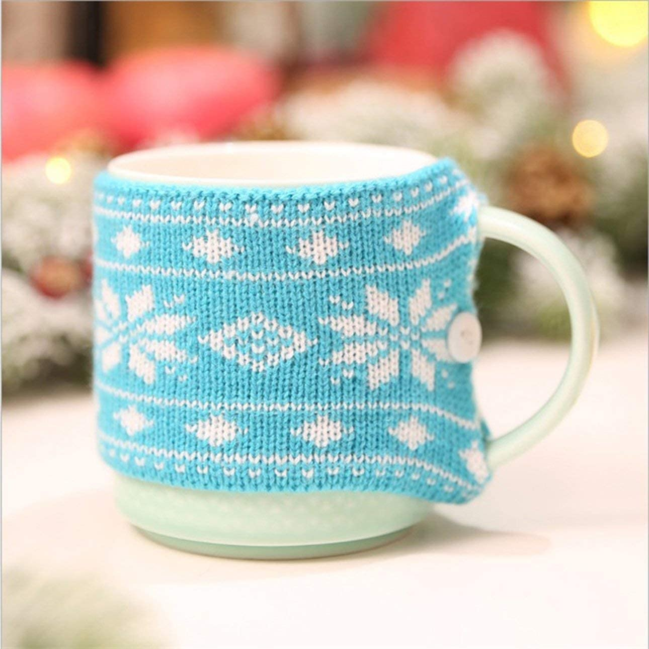 Liobaba Christmas Knitted Mug Warmer Sleeve Suitable for Christmas Party,Festival Decoration