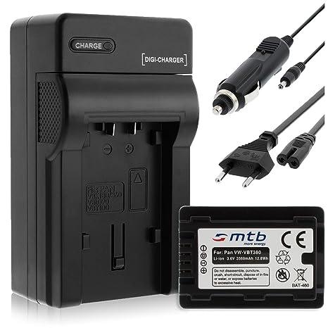 Batería + Cargador (Coche/Corriente) para VW-VBT380 / Panasonic HC-VX989. / HC-W570, W850, WX979. v. Lista! con Infochip