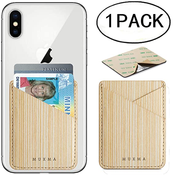 f1c4377d94 Phone Card Holder,Pouch Real Wood ID Credit Cover Stick on Card Holder for  Back