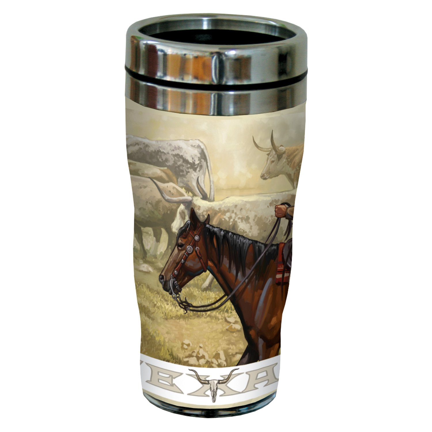 Multicolored Tree-Free Greetings sg23319 Western Texas Longhorn Roundup by Paul A 16-Ounce Lanquist Stainless Steel Sip N Go Travel Tumbler