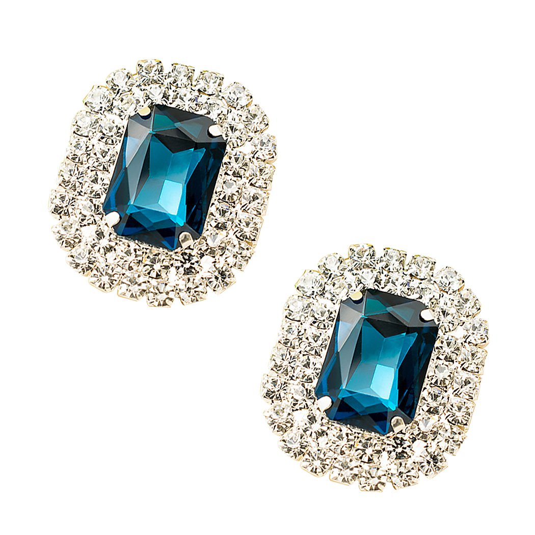 ZAKIA Women' Crystal Gem Removable Shoe Clips Clutch Wedding Party Decoration Pack of 2 (Peacock Blue)
