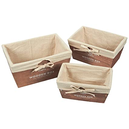Attirant Storage Basket   3 Piece Nesting Baskets, Wooden Storage Containers U2013  Utility Rustic Wood