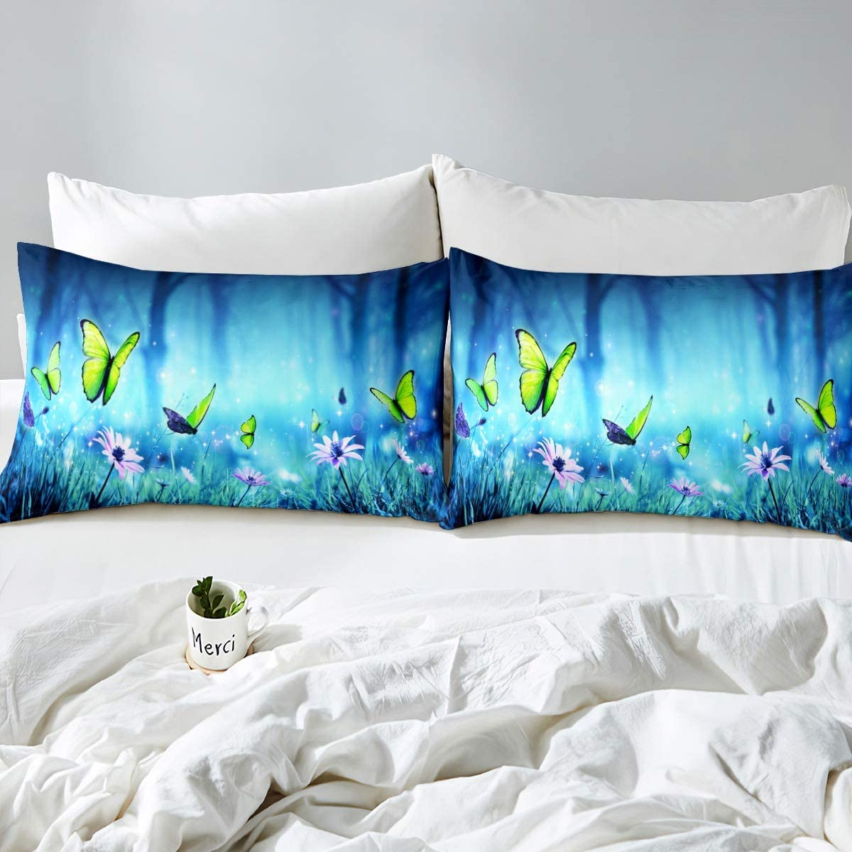 Feelyou Natural Scenery Bedding Set Lakes and Mountains Bed Sheet Set for Kids Boys Girls Teens Nature Theme Luxury Microfiber Fitted Sheet Decor 2Pcs Bed Cover Twin Size Green Blue