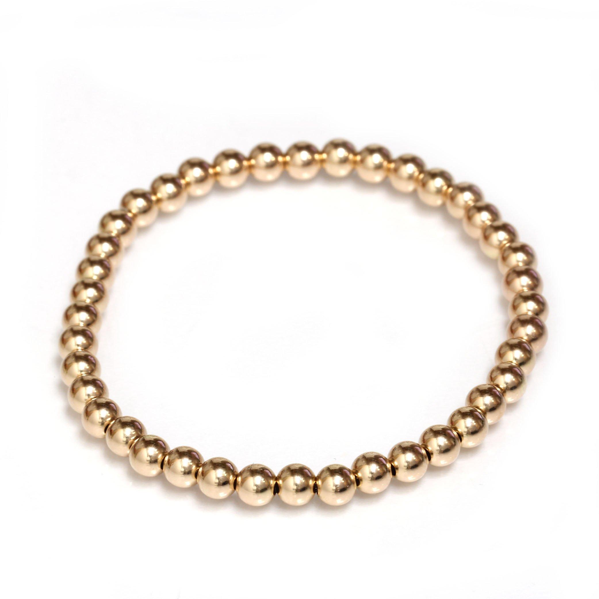 Bead Stretch Elastic Bracelet 14k Gold Yellow, White and Rose, Easy Slid On (7, rose-gold)