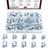 DYWISHKEY 100Pcs 10 Sizes Zinc Plated Mini Fuel Injection Line Style Hose Clamp Assortment Kit, Perfect for Automotive, Agric