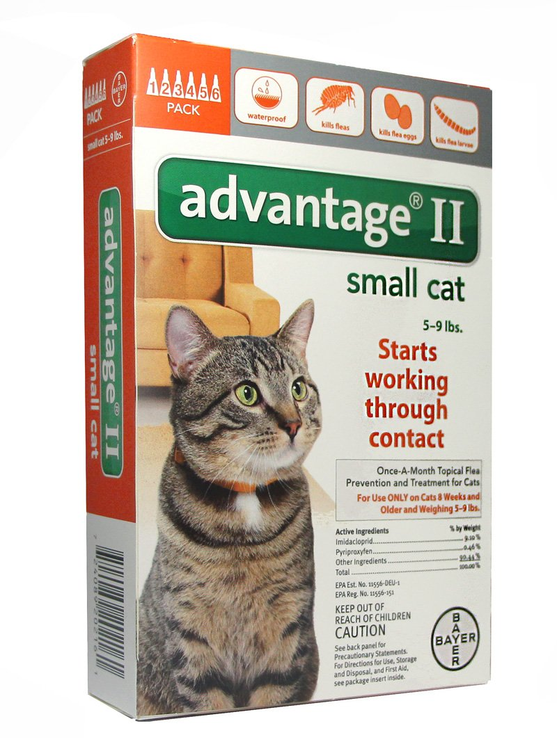 BAYER 004BAY-04461677 Advantage II for Small Cats 5 - 9 lbs, Orange - 6 Months
