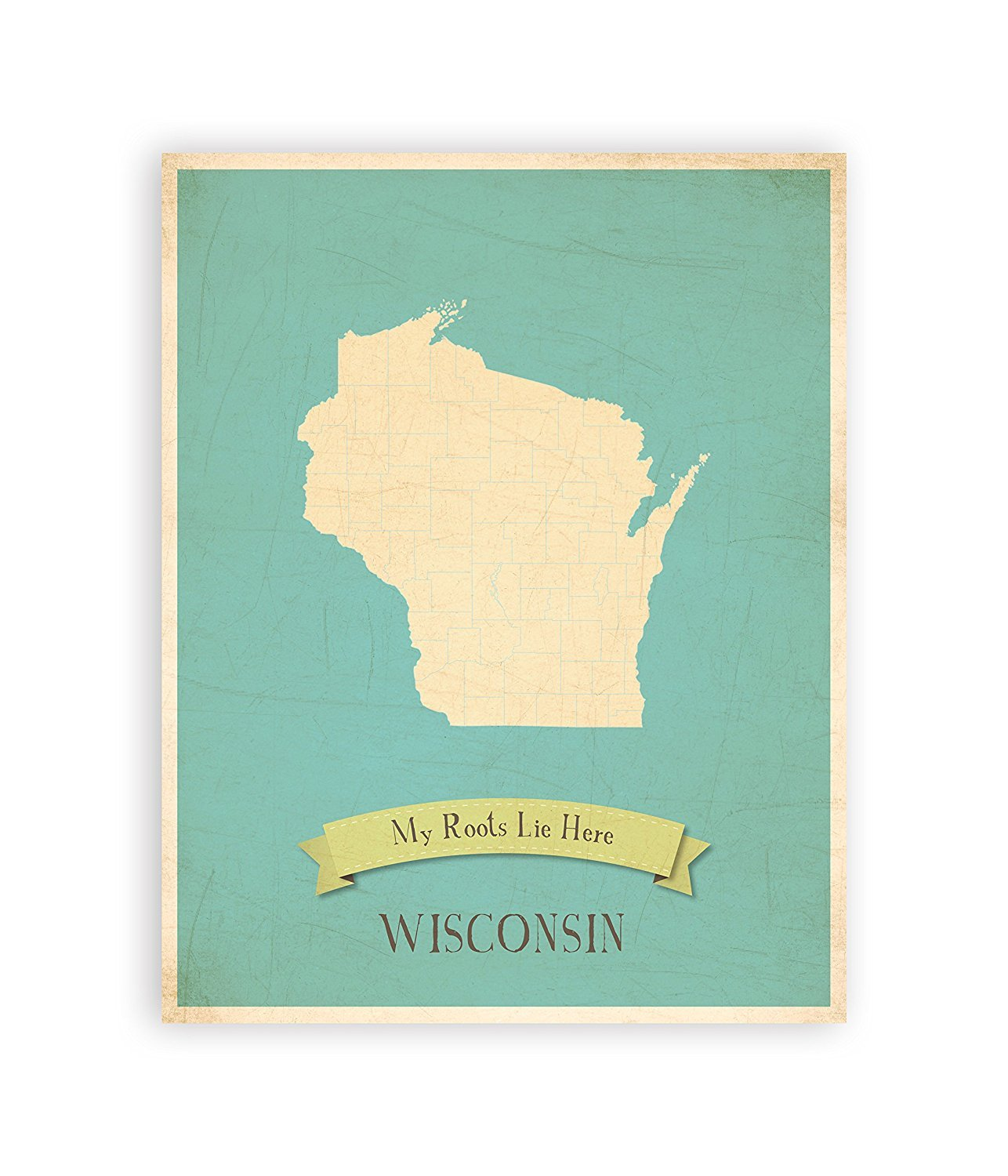My Roots Wisconsin Personalized Wall Map 16x20 Inch Print, Kid's Wisconsin Map Wall Art, Children's Wisconsin Vintage State Map, WI Wall Art Print, Nursery Decor, Nursery Wall Art