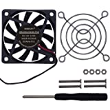 Enokay DC 12V 0.16A 60mm×60mm×10mm Brushless DC Cooling Fan + 1 Piece 60mm Fan Grill