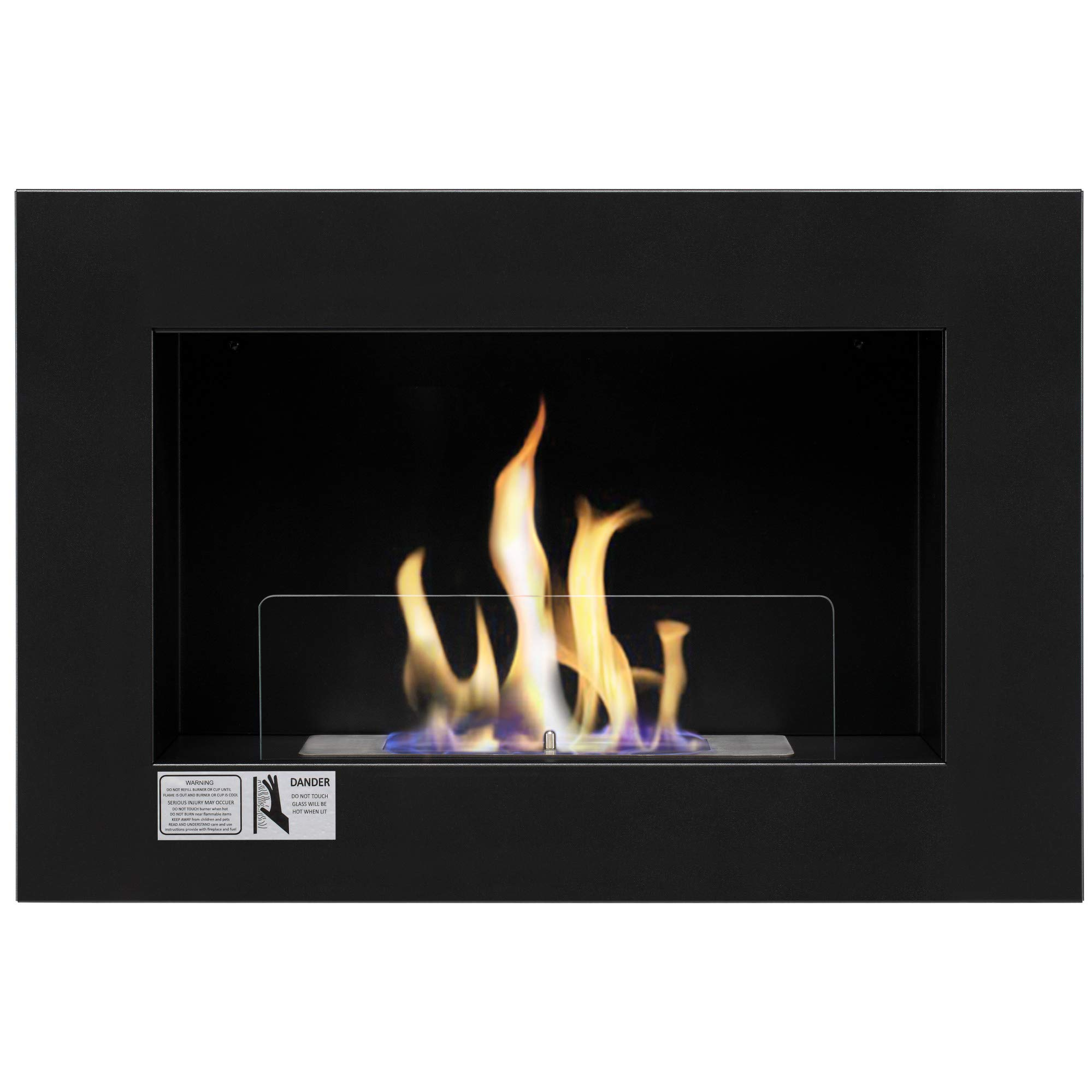 Xbeauty 27'' Ventless Built in Recessed Bio Ethanol Fireplace with Safety Glass,Indoor Wall Mounted Fireplace by Xbeauty