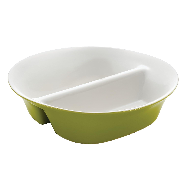 Rachael Ray Dinnerware Round & Square 12-Inch Stoneware Divided Dish, Green