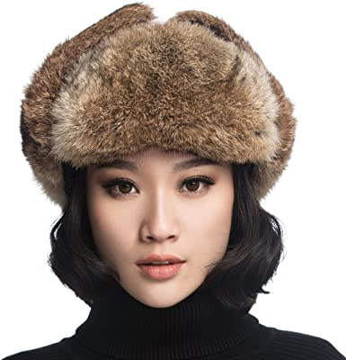 REAL Rabbit FUR Trapper hat Cossack Hat Ushanka Russian style hat Xmas Winter
