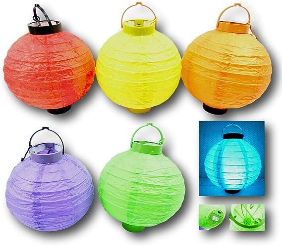 Juego de 6 farolillos LED de colores para jardín, con pilas, inalámbricos, 20 cm: Amazon.es: Iluminación