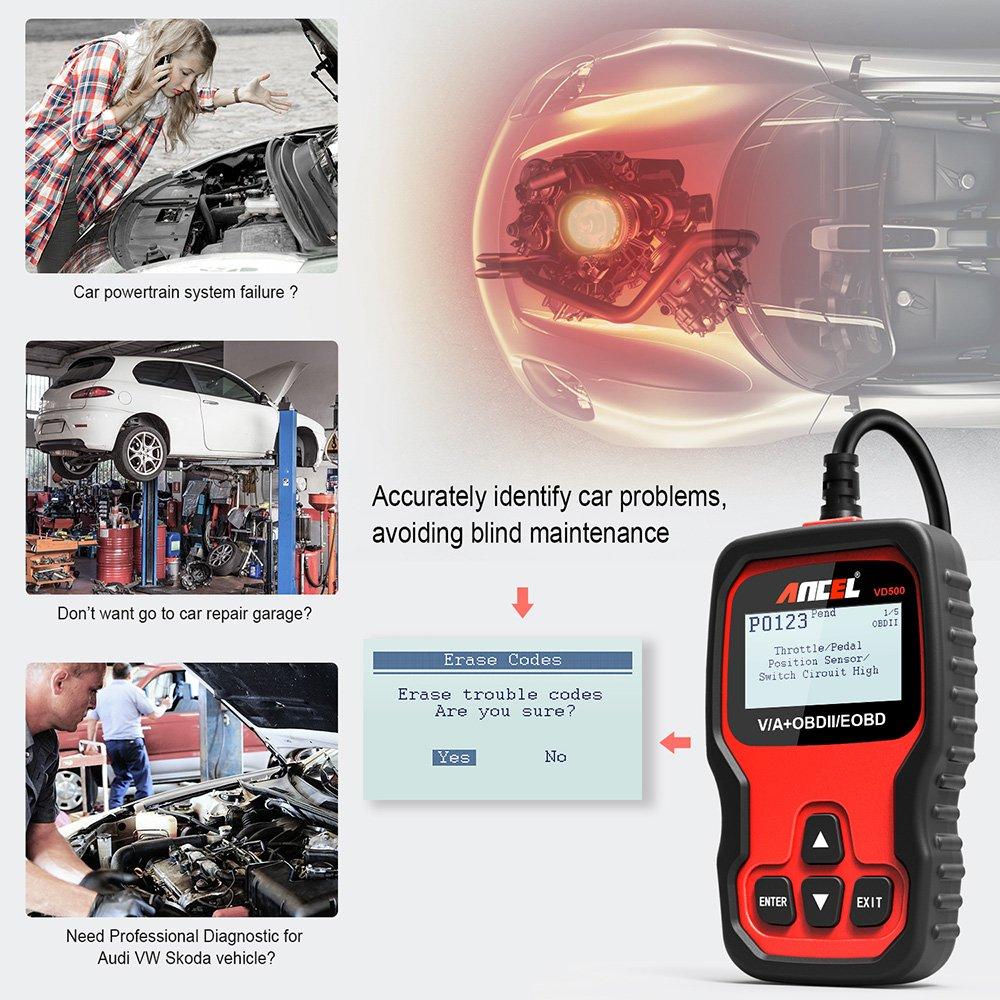 ANCEL VD500Pro OBD2 Diagnoseger/ät Fehler Motorkontrollleuchte Auslesen Scaner EPB /Öl TPS Zur/ücksetzen Reset Tool in Deutsch