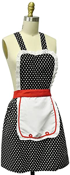 Old Fashioned Aprons & Patterns Kella Milla Retro 50s Polka Dot Apron $27.99 AT vintagedancer.com