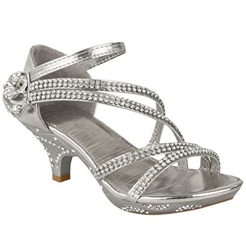 df2b626a8ec430 Fashion Thirsty Girls Kids Low Heel Wedding Diamante Sandals Bridesmaid  Party Shoes Size US 11 Silver