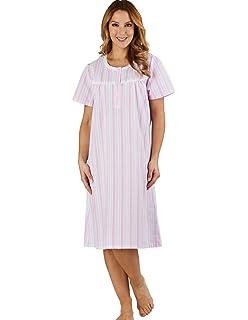 Slenderella ND1221 Women s Stripe Seersucker Pink Night Gown Loungewear  Short Sleeved Nightdress 368870938