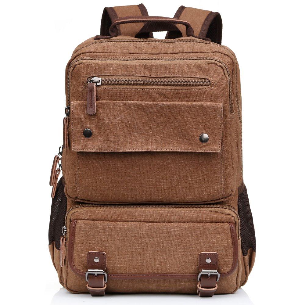Jamsmor Canvas Vintage Backpack Casual Bookbag Unisex Rucksack Travel bag (Brown)