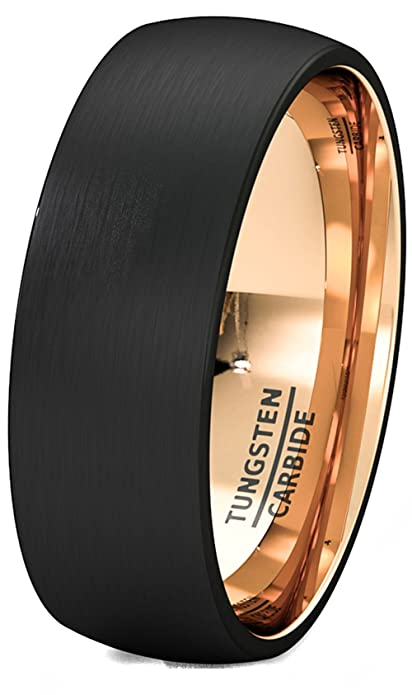 c2721d1fb1f Mens Wedding Band Two Tone Black Rose Gold Tungsten Ring Brushed Center  Dome Comfort Fit  Amazon.ca  Jewelry