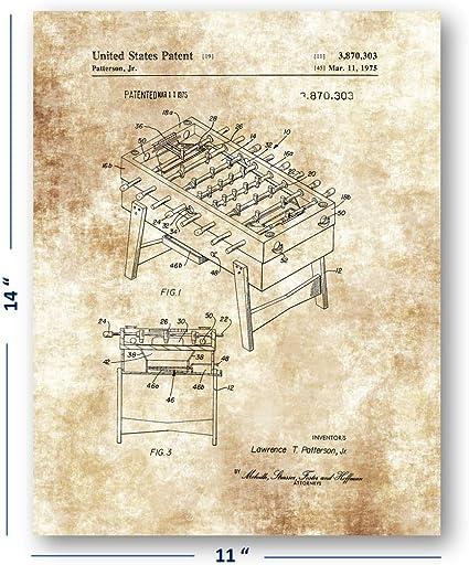 Juego de futbolín dibujo de mesa – 11 x 14 sin marco Patent Print – Gran decoración para el sala de juegos, Gameroom y Mancave – hace un maravilloso regalo para los