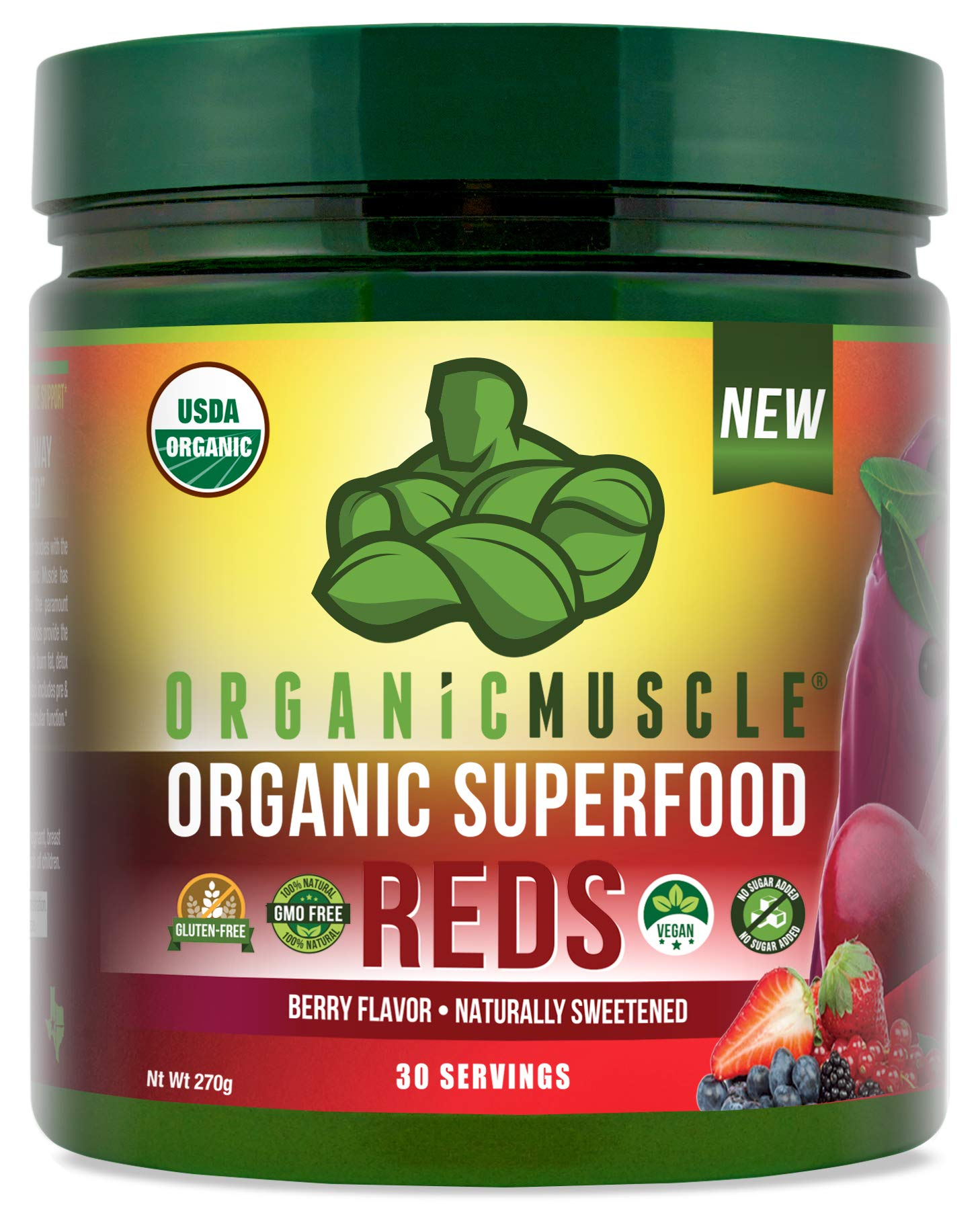 Certified Organic Superfood Reds Powder | Vital Reds Juice Supplement for Detox, Energy, Focus, Digestion, Metabolic Boost & Anti-Aging | Vegan, Non-GMO, Berry Flavor, 30 Day Supply | ORGANIC MUSCLE by Organic Muscle (Image #1)