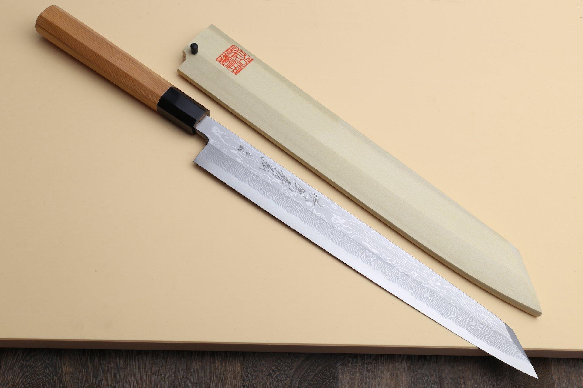 Yoshihiro Blue Steel #1 Damascus Yanagi Kiritsuke Sashimi Knife 11.8 in (300mm) Yew Handle