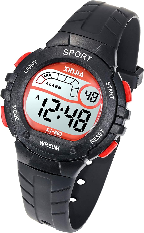 Reloj Digital para Niños Niña,Chicos Chicas 50M(5ATM) Impermeabl Deportes al Aire Libre LED Multifuncionales Relojes de Pulsera con Alarma para Niños,Niñas