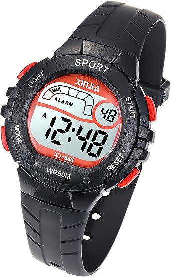 Reloj Digital para Niño Niña,Chicos Chicas 50M(5ATM) Impermeabl Deportes al Aire Libre LED Multifuncionales Relojes de Pulsera con Alarma para Niños,Niñas(Negro): Amazon.es: Relojes