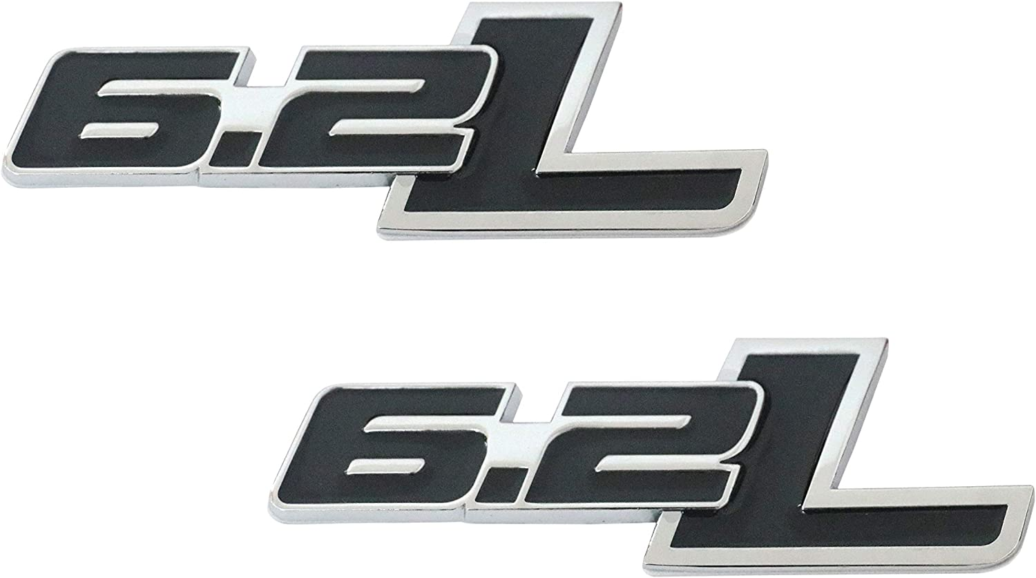 2X Metal Black 6.2L Silver Border 6.2L Emblem Skirt Bumper Sticker Fender Side Badge Decal for Ford F150 F250 F350 Dodge Ram 1500 2500 3500 Chevrolet Cadillac GMC Vauxhall