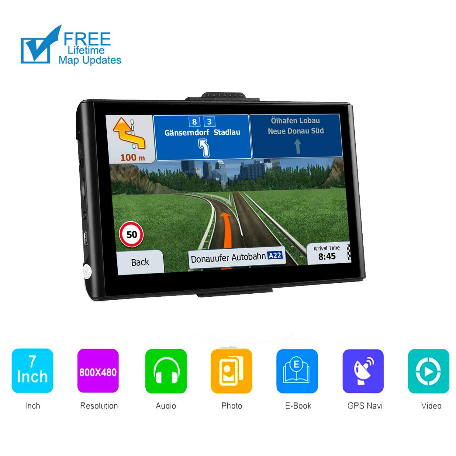 GPS Navigation for Car ,7 inch 8GB HD Car GPS Navigation, Free Lifetime map Updates ,Fast Positioning Speed Limit Reminder Driving Alarm ,Real Voice Sat Nav by Desgan
