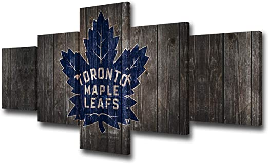 Tumovo Vintage Canvas Wall Art Toronto Maple Leafs Logo Picture National Hockey League Puck Team Poster And Prints Home Modern Decor Living Room 5 Panel Wooden Framed Ready To Hang 50wx24h Inches Amazon Ca