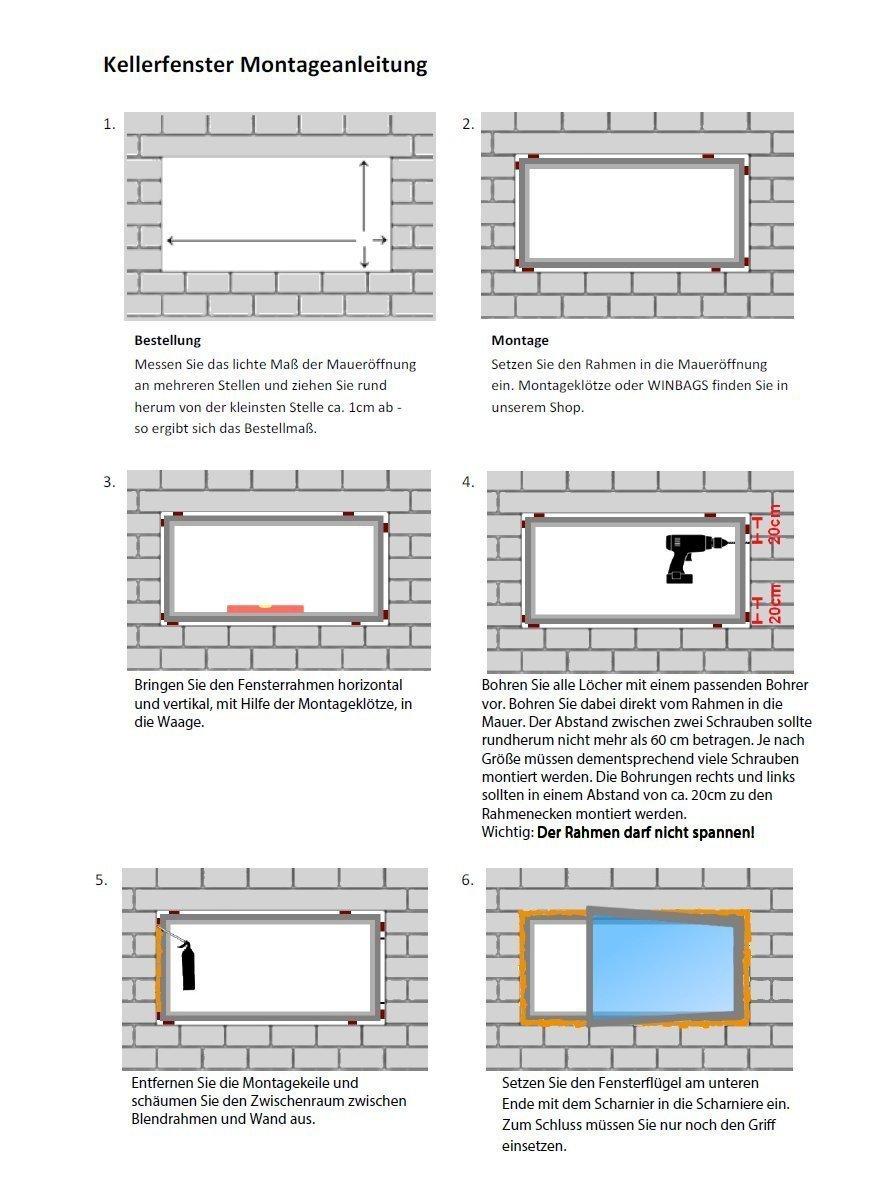 anthrazit//wei/ß Kellerfenster BxH: 90 x 50 cm DIN Links Fenster Kunststoff