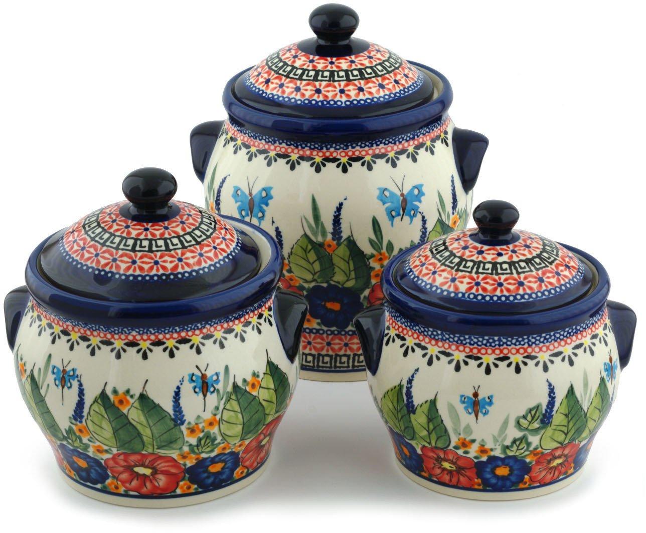Polish Pottery Set of 3 Jars 8-inch Spring Splendor UNIKAT by Polmedia Polish Pottery