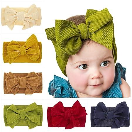 6Pcs Baby Turban Headband Set-Bowknot Hairband Soft Cute Headwear Elastic for Newborn//Girls//Boys//Kids Gift as Toddler Headdress Photography Props Accessories C