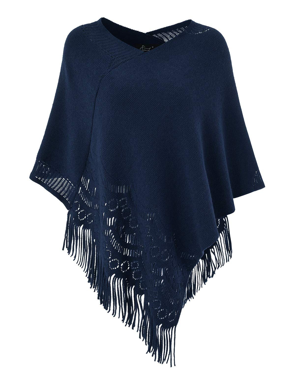 Ferand Women's Crochet Soft Fringe Poncho Pullover Sweater in Multi-Way Neck Style, One Size, Navy Blue