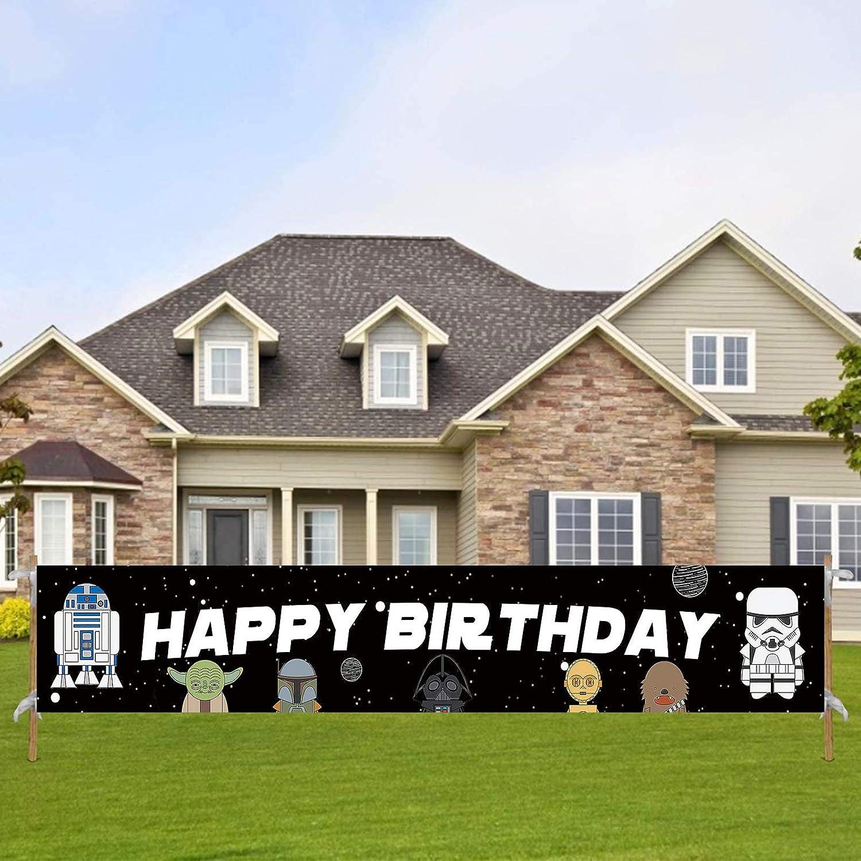 Large Star Themed Wars Birthday Banner, Happy Birthday Sign, Star Inspired Wars Birthday Decorations for Boys Girls(9.8 * 1.6 feet)