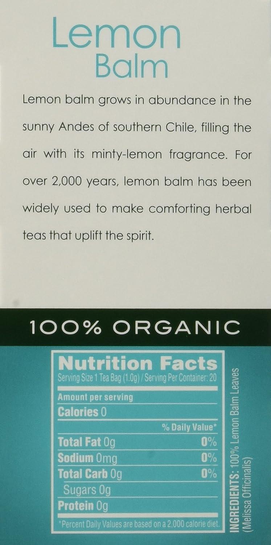 Amazon.com : Garden of the Andes Chilean Organic Lemon Balm Tea, 20 ...