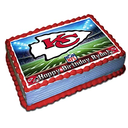 Astounding Kansas City Chiefs Nfl Personalized Cake Topper Icing Sugar Paper Funny Birthday Cards Online Overcheapnameinfo