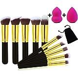 Otao - Set di pennelli per il trucco, 10+ 2pezzi, professionali per fondotinta, sfumature, eye-liner, ombretto, cipria, pennelli per le labbra, con 2 spugnette di bellezza per sfumature