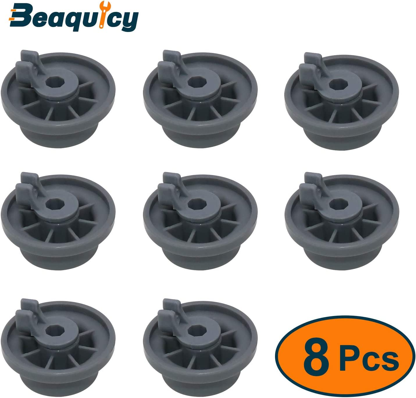 Beaquicy 165314 Dishwasher Lower Rack Wheel (8 PACK) - Replacement for Bosch Kenmore Dishwashers