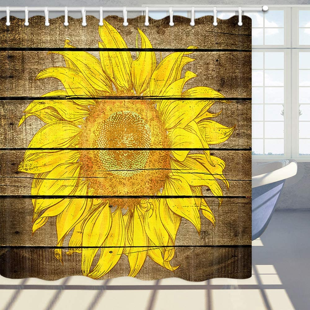 Polyester Fabric Bathroom Curtain with 12 Hooks DYNH Flower Shower Curtains 69X70 Inches Yellow Sunflower Flower on Wooden Board Bath Curtain