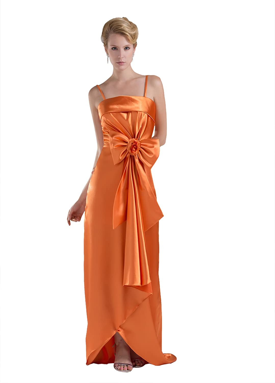 Dresstells Elegant Damen Kleid Bodenlang Satin Abendkleid Ballkleider Mit Spaghettiträgern und Schleife