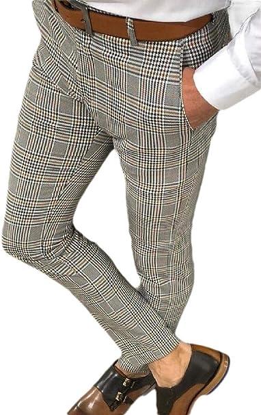 BU2H Men Long Sleeve Casual Plaid Print Cotton Button Up Shirts